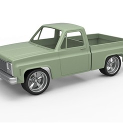 1.jpg Download STL file Diecast shell and wheels 1980 Chevrolet C10 with style grid Scale 1 to 25 • 3D printer object, 3DTechDesign