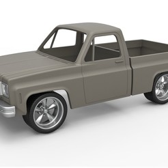 1.jpg Download STL file Diecast shell and wheels 1978 Chevrolet C10 Scale 1 to 25 • 3D print model, 3DTechDesign