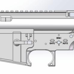 1.png Download STL file AIRSOFT AR15/M4 RECEIVER • 3D printing model, Model_Lover