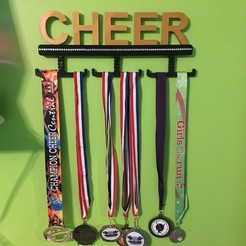 1cf8fd96079d09015eb7e7f2fdb37603_display_large.jpg Download free STL file Cheer, Cheerleading Medal Wall Display Rack • 3D printer object, HoytDesign