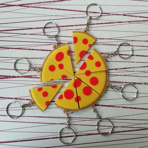 Free STL files Pizza key chains., Rudddy