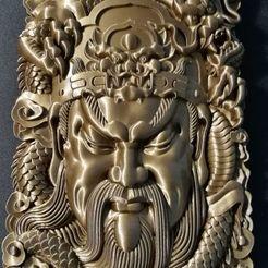 Descargar STL gratis Guangong y dragón, Koringer