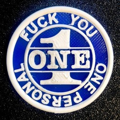 one fuck you - 1.jpg Download STL file Fuck you - Coin • 3D printer object, Lammesky
