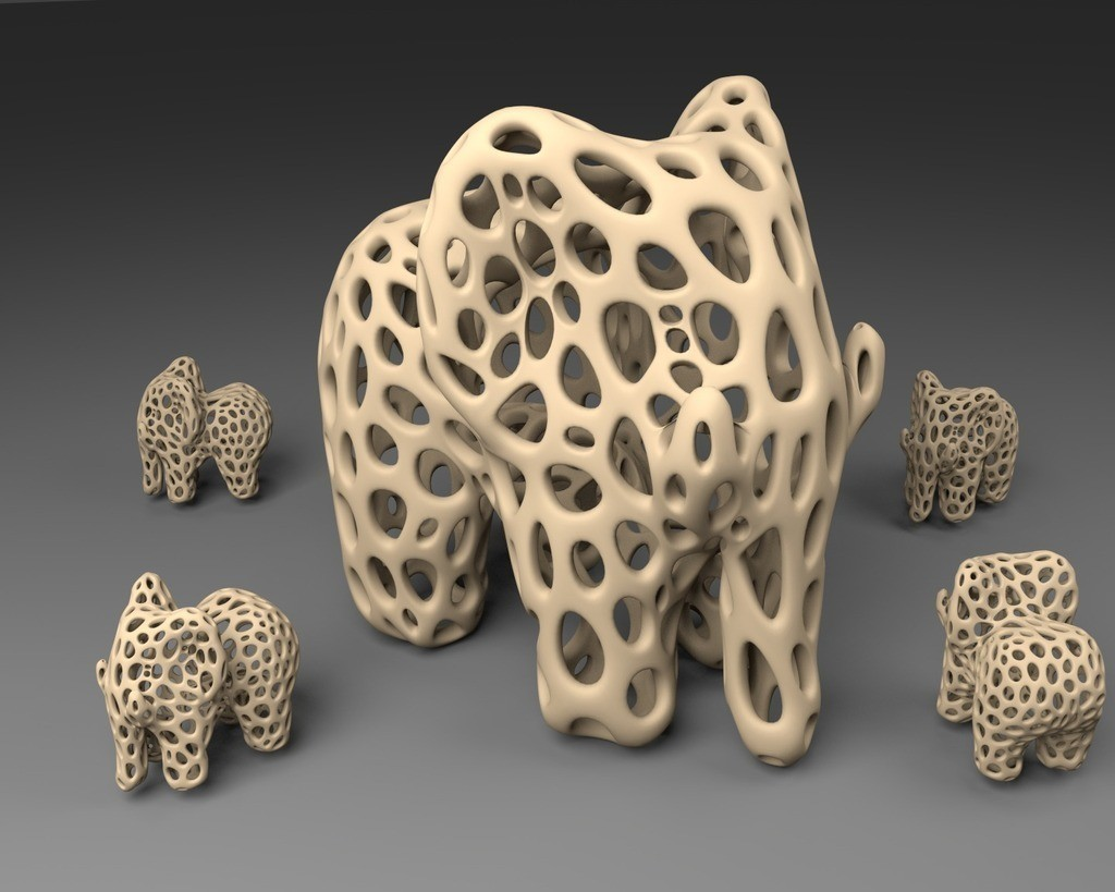 Elephant_-_Voronoi_Style_display_large.jpg Download free STL file Elephant - Voronoi Style • 3D print object, Numbmond