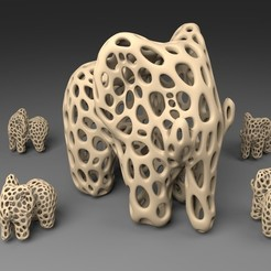 Download free 3D printer designs Elephant - Voronoi Style, Numbmond