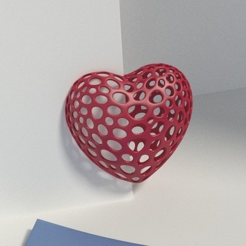 Download free 3D printer model Heart with slot on one side - Voronoi Style, Numbmond