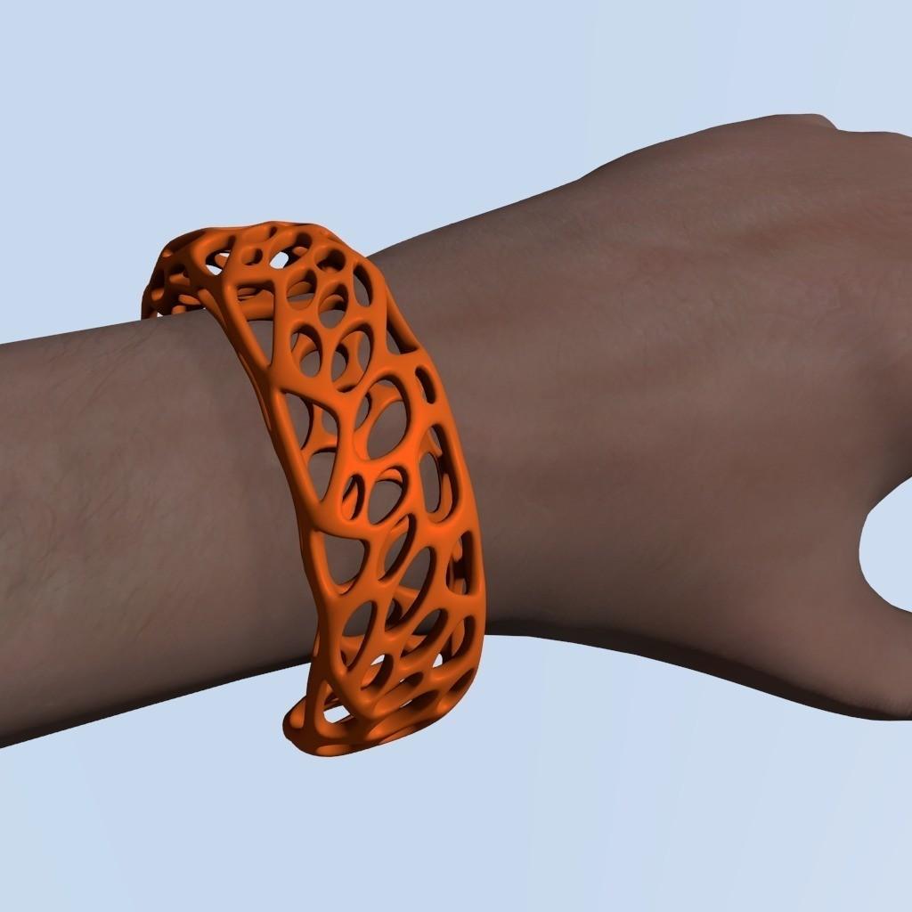 Voronoi_Bracelet_A_renderd_display_large.jpg Télécharger fichier STL gratuit Bracelet Voronoi • Objet imprimable en 3D, Numbmond