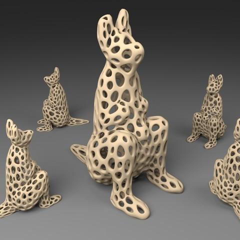 Télécharger objet 3D gratuit Kangourou - Style Voronoi, Numbmond