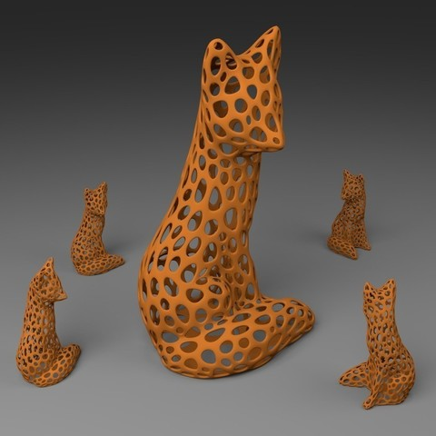 Download free 3D printer templates Fox - Voronoi Style, Numbmond