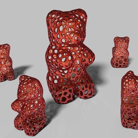 Télécharger modèle 3D gratuit Ours en gomme - Style Voronoi, Numbmond