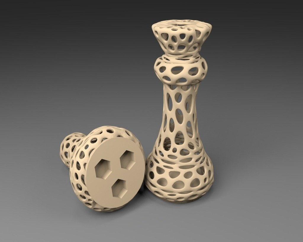 3xM8_display_large.jpg Download free STL file 3xM8: Voronoi Chess Set with inlets for 3 x M8 Nuts • 3D printable design, Numbmond