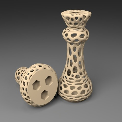 Download free 3D print files 3xM8: Voronoi Chess Set with inlets for 3 x M8 Nuts, Numbmond