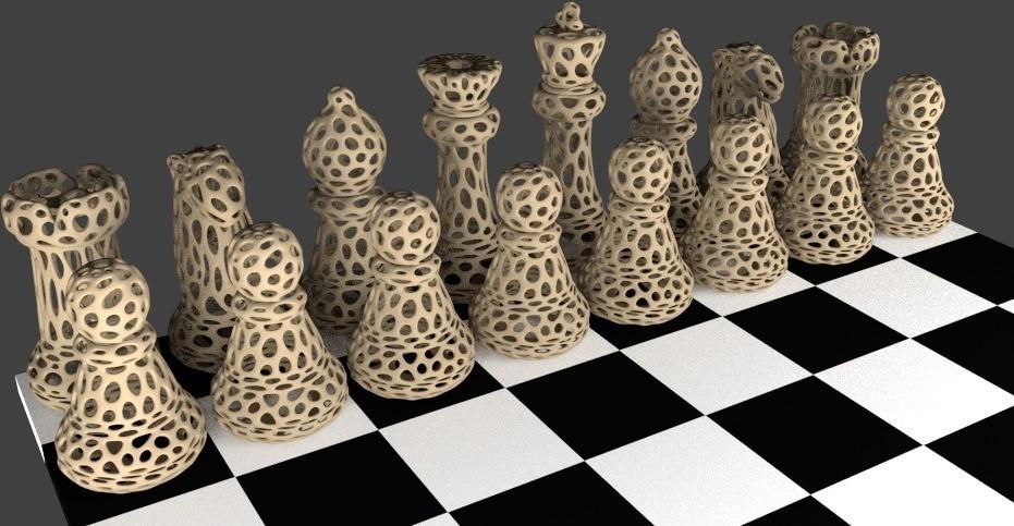 Chess_Set_-_Voronoi_display_large.jpg Download free STL file Chess Set - Voronoi Style • 3D printing template, Numbmond
