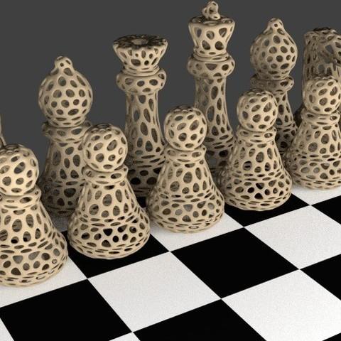 Modèle 3D gratuit Jeu d'échecs - Voronoi Style, Numbmond