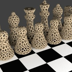 Chess_Set_-_Voronoi_display_large.jpg Download free STL file Chess Set - Voronoi Style • 3D printing template, Numbmond