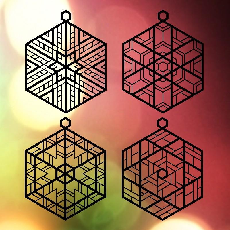 ornaments_with_background_full-001_display_large.jpg Télécharger fichier OBJ gratuit Quatre ornements inspirés du vitrail • Design pour imprimante 3D, Not3dred