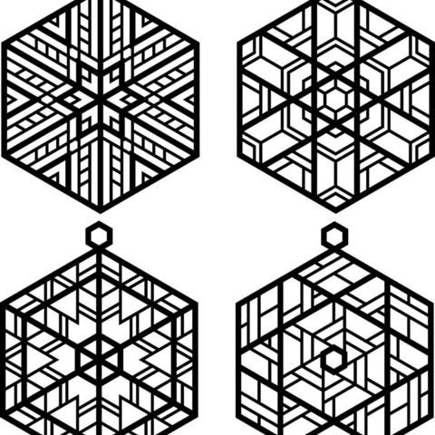 Ornaments_display_large.jpg Télécharger fichier OBJ gratuit Quatre ornements inspirés du vitrail • Design pour imprimante 3D, Not3dred