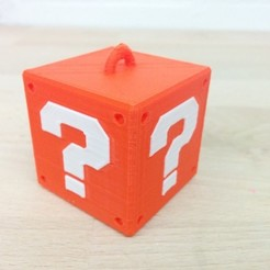 Free 3D printer files Super Mario Mystery Block Hanger (Single & Dual Extrusion), Runstone