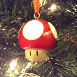 Free STL files Super Mario Mushroom 1up Tree Ornament, Runstone