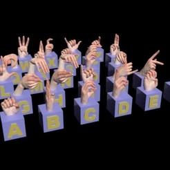 MANOS 3.jpg Télécharger fichier STL Langue des signes Alphabet en 3d (SLA), stl séparés par des lettres. • Objet pour imprimante 3D, isasaurio