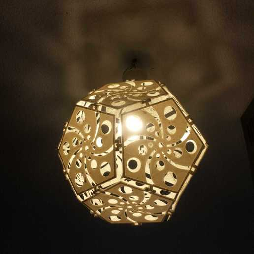 "Download STL file Dodecahedron Lampshade ""Swirls"", 3D_Workshop"