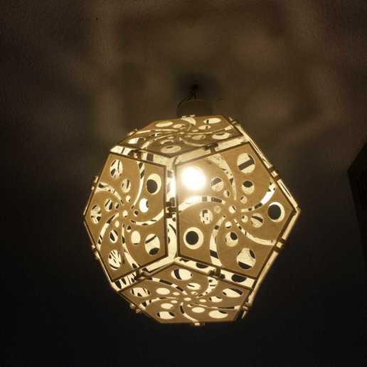 "Descargar archivos STL Lámpara de dodecaedro ""Swirls"", 3D_Workshop"