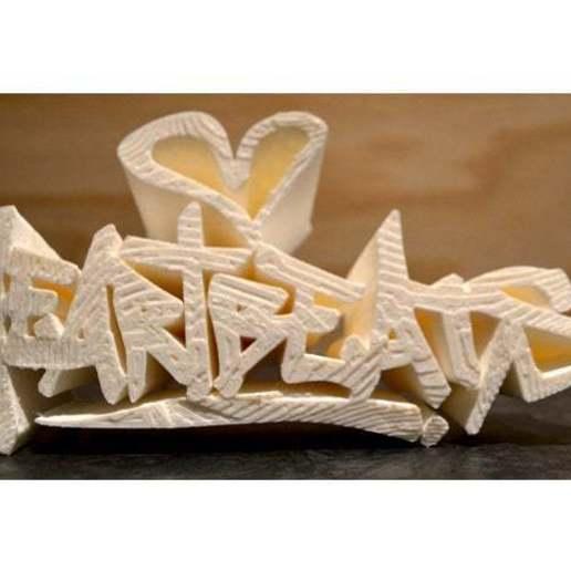"""Télécharger modèle 3D Logo graffiti """"Heartbeats"""" (battements de coeur), 3D_Workshop"""