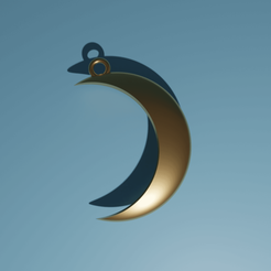 Lune03.png Download free STL file Free Moon Pendant • 3D printable template, The-Inner-Way