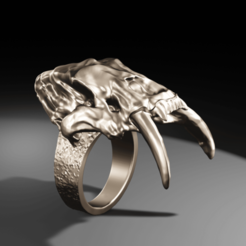 Imprimir en 3D Anillo: Diente de sable, The-Inner-Way