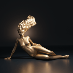 FilleFlamme01.png Download STL file The Girl of Fire • 3D printer design, The-Inner-Way