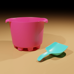 Plage01.png Download free STL file Bucket and Shovel (free) • 3D printable template, The-Inner-Way