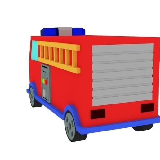 Dessin Animé Jouet Camion De Pompier
