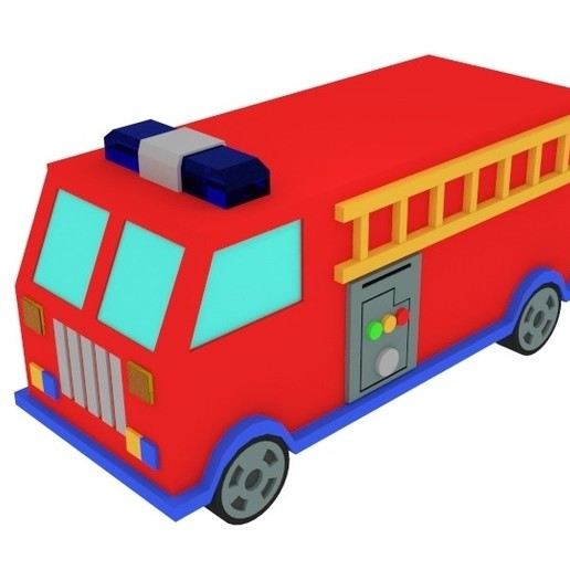 Telecharger Fichier 3d Dessin Anime Jouet Camion De Pompier Cults