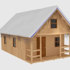 lgcbnsnw1.png Télécharger fichier STL Chalet d'hiver en bois rond • Objet pour imprimante 3D, banism24