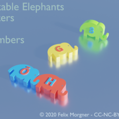linkable_elephants.png Download free STL file Linkable Elephants - Letters & Numbers (Redesign/Remix) • 3D printing model, fmorgner