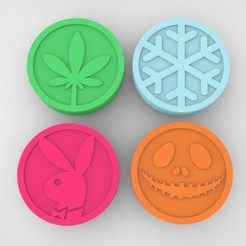 Grinders.393.jpg Download STL file GRINDER WEED - DIY - 4 PACK TOP PART • 3D print design, SnakeCreations