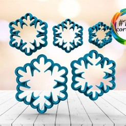 Download 3D printer designs Snowflake cutter set, juanchininaiara