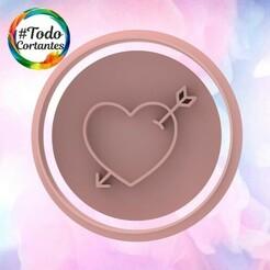 2116 Stamp corazón flechado.100.jpg Download STL file Valentine's Day Cutter • Design to 3D print, juanchininaiara