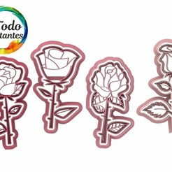 Rosas con tallo.25.jpg Download STL file Rose cutter set • 3D printable design, juanchininaiara