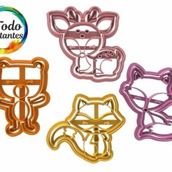 Descargar STL set animales del bosque cookie cutter, juanchininaiara