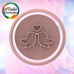 2118 Pajaritos stamp.102.jpg Download STL file Valentine's Day Cutter • Design to 3D print, juanchininaiara