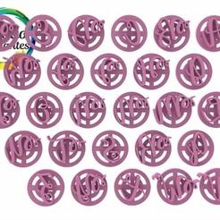 Watermelon Script mayúsculas.1.jpg Télécharger fichier STL Timbre alphabétique sur la pastèque • Design pour impression 3D, juanchininaiara