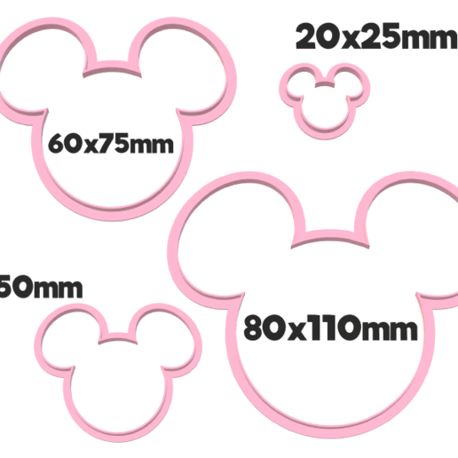 929 Mickey Siluetas set.png Download STL file Mickey silhouette cutter set • 3D print object, juanchininaiara