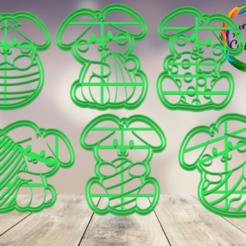 conejos y huevos.png Télécharger fichier STL moule à biscuit de Pâques • Design pour impression 3D, juanchininaiara