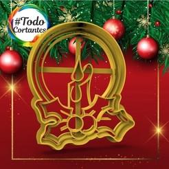 301 Vela con muérdago re.17.jpg Download STL file Short Christmas candle • Design to 3D print, juanchininaiara