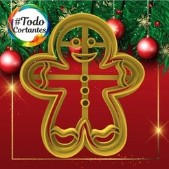 318 Jengibre.31.jpg Download STL file Gingerbread Man Christmas Cutter • 3D printing design, juanchininaiara