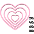 920 Corazones set.png Download STL file Heart cutter set • Object to 3D print, juanchininaiara