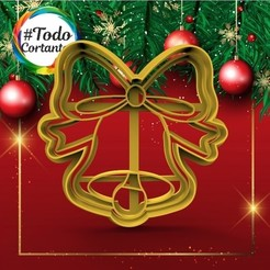 341 Campana con moño.53.jpg Download STL file Christmas bell cutter • Model to 3D print, juanchininaiara