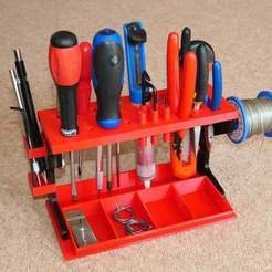 Download free 3D printing files Desktop Tool Rack Organizer for small hand tools, PapaBravo