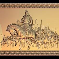 Télécharger fichier impression 3D gratuit genghis khan guerrier guerrier cheval scène de combat, 3DPrinterFiles